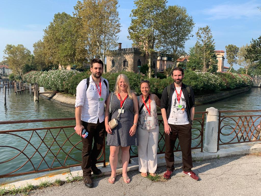 Photo: L-R: David Green, Danae Stanton Fraser, Ki Cater and Chris Bevan. Venice Film Festival, 2019.